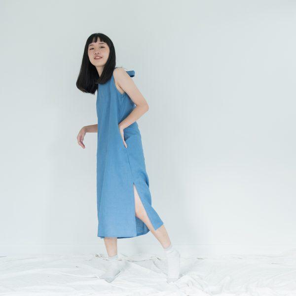 Big Bow Linen Dress